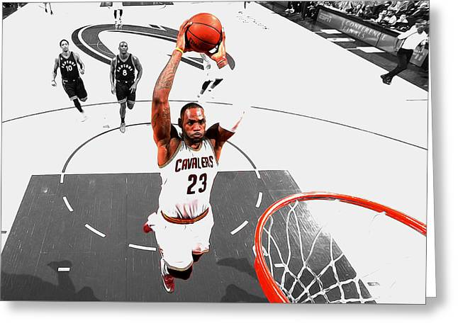 Lebron James Flight Path Greeting Card by Brian Reaves
