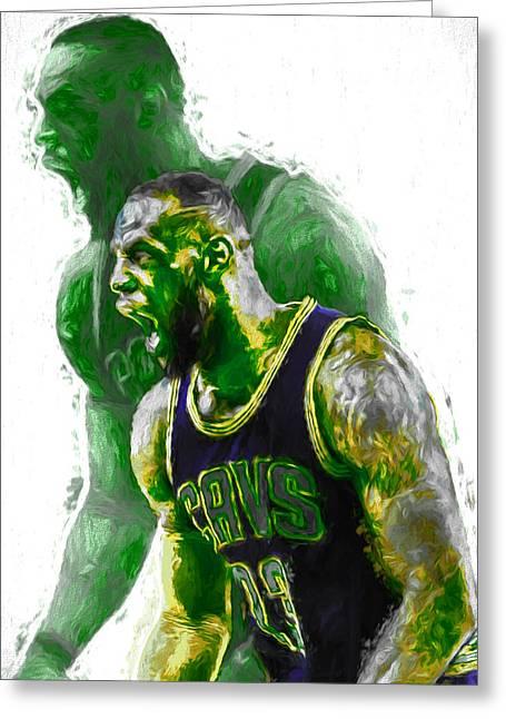 Lebron James Green Rage Hulk Cleveland Cavs Digital Painting Greeting Card