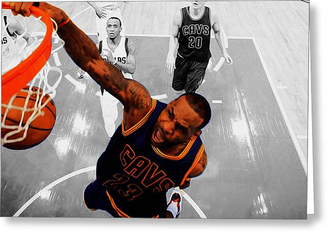 Lebron James In Flight 23 Greeting Card by Brian Reaves