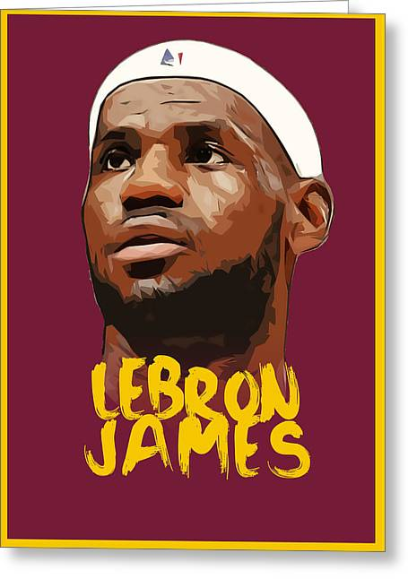 Lebron James King Greeting Card by Semih Yurdabak