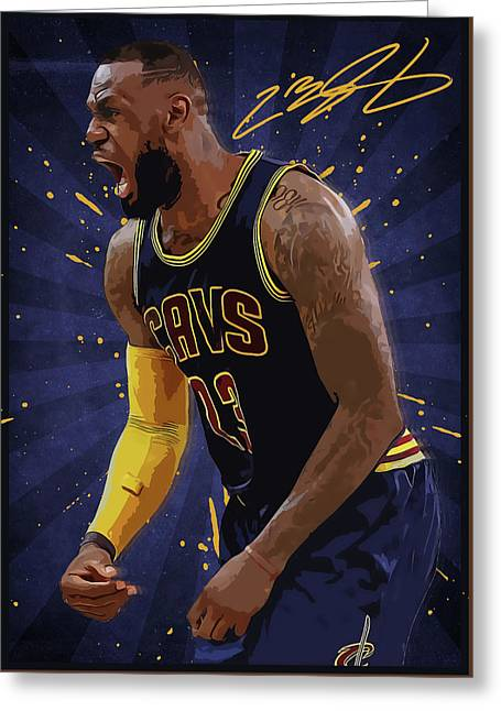 Lebron James Nba Greeting Card by Semih Yurdabak