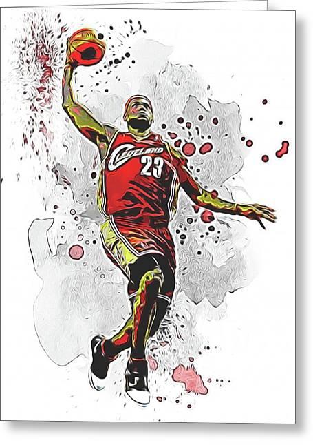 Lebron James Slam Dunk Greeting Card