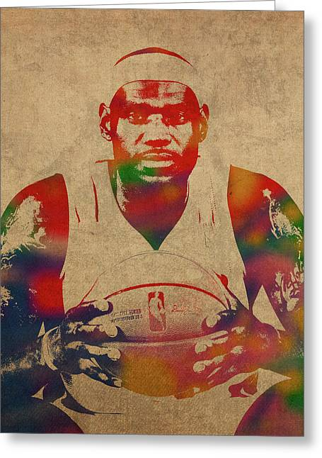 Lebron James Watercolor Portrait Greeting Card