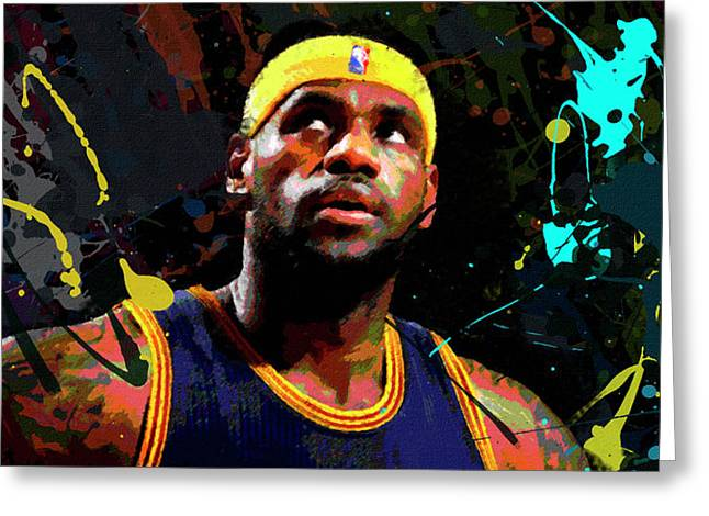 Greeting Card featuring the painting Lebron by Richard Day