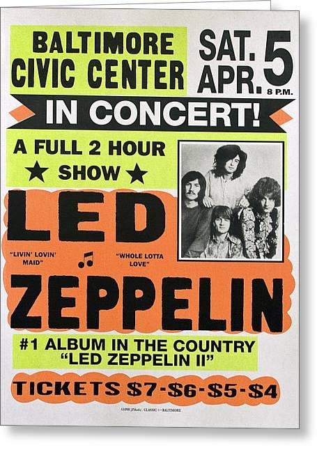 Led Zeppelin Concert Poster 1970 Greeting Card
