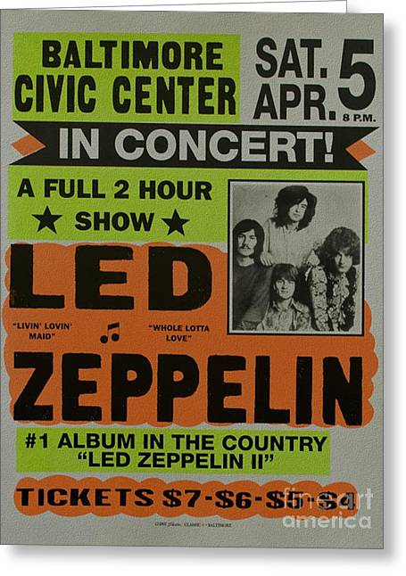 Led Zeppelin Live In Concert At The Baltimore Civic Center Poster Greeting Card by R Muirhead Art