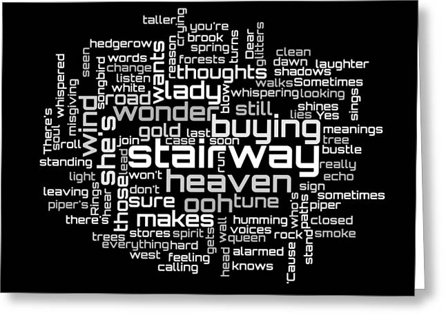 Led Zeppelin - Stairway To Heaven Lyrical Cloud Greeting Card