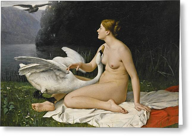 Leda And The Swan Greeting Card by Paul Lazerges