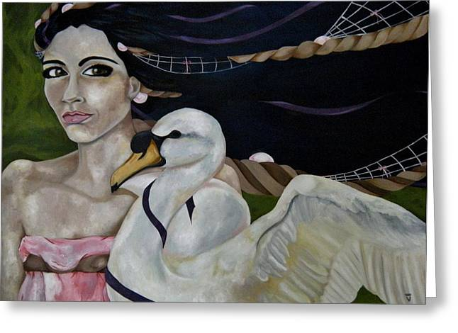 Leda And The Swan Greeting Card by Victoria Dietz