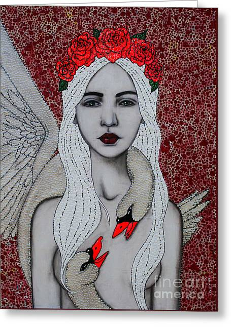 Greeting Card featuring the mixed media Leda And The Swans by Natalie Briney