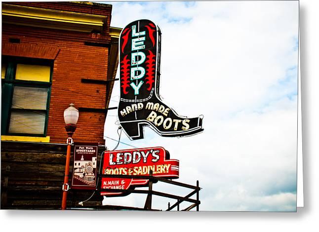 Leddy's Boots Greeting Card by David Waldo