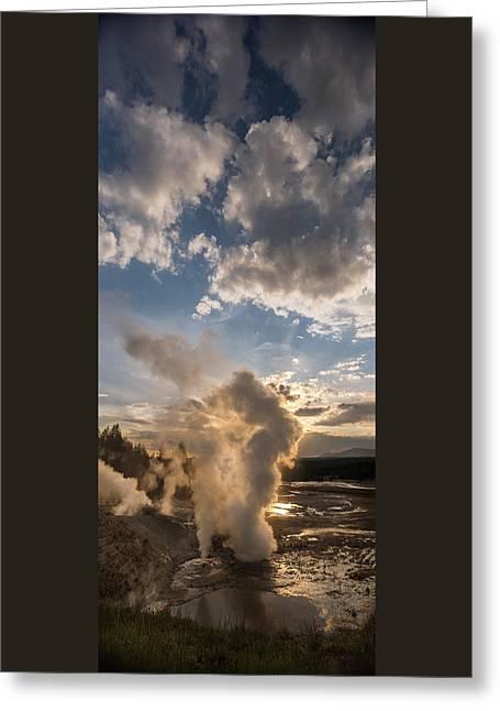 Ledge Geyser Yellowstone N P Greeting Card by Steve Gadomski