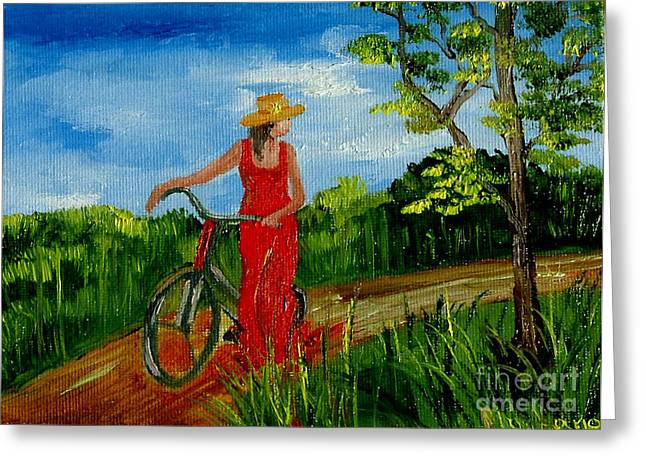 Ledy With The Bike Greeting Card by Inna Montano