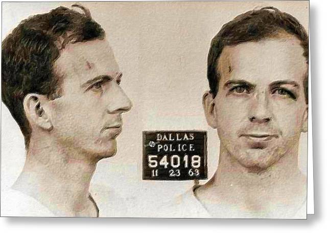 Lee Harvey Oswald Mug Shot Nov 22 1963 Horizontal Painting Greeting Card by Tony Rubino