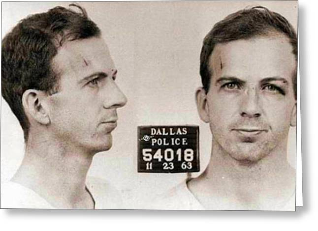 Lee Harvey Oswald Mug Shot Nov 22 1963 Horizontal  Greeting Card by Tony Rubino