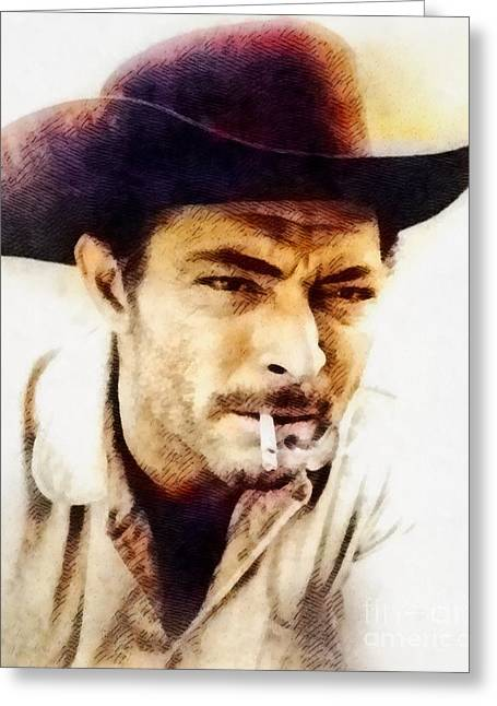 Lee Van Cleef, Vintage Actor By John Springfield Greeting Card