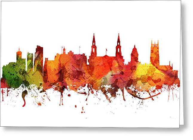 Leeds Cityscape 04 Greeting Card by Aged Pixel