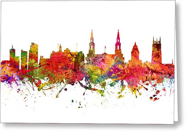 Leeds Cityscape 08 Greeting Card by Aged Pixel
