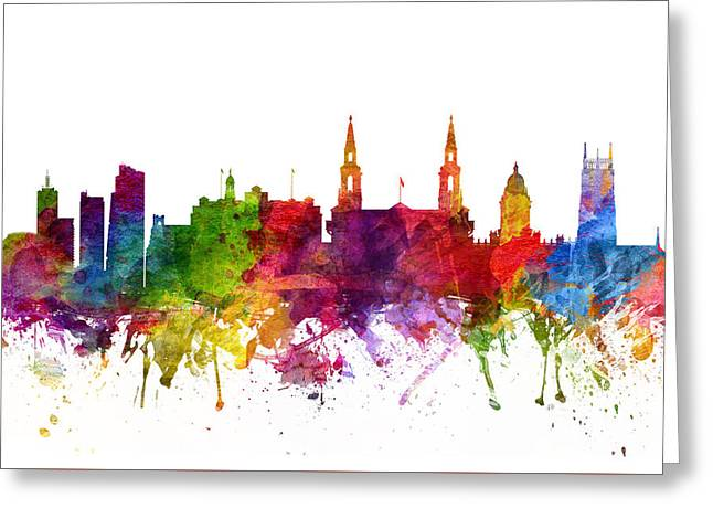 Leeds England Cityscape 06 Greeting Card by Aged Pixel