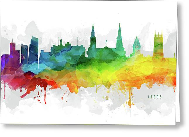 Leeds Skyline Mmr-gble05 Greeting Card by Aged Pixel