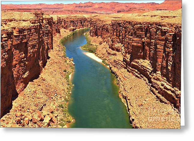Lees Ferry River Canyon Greeting Card by Adam Jewell