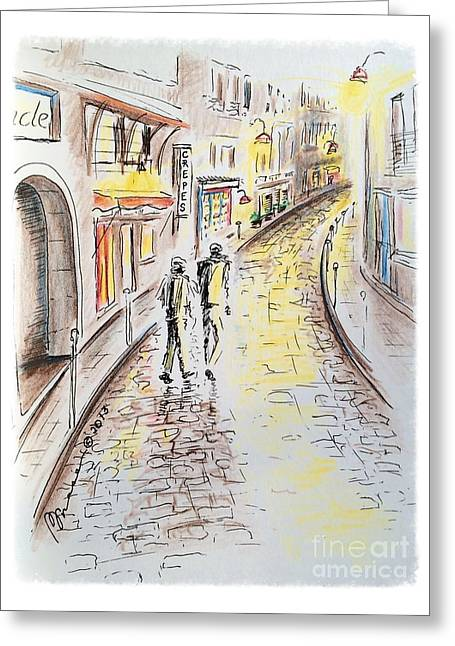 Left Bank Greeting Card by Barbara Chase