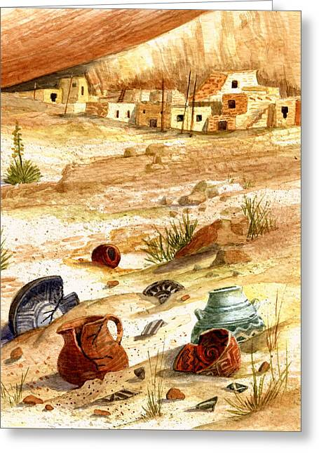 Greeting Card featuring the painting Left Behind - Indian Pottery by Marilyn Smith