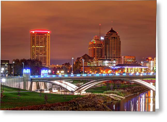 Left Panel 1 Of 3 - Columbus Ohio Skyline At Night Greeting Card