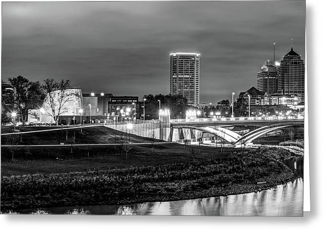 Left Panel 1 Of 3 - Columbus Ohio Skyline At Night In Black And White Greeting Card