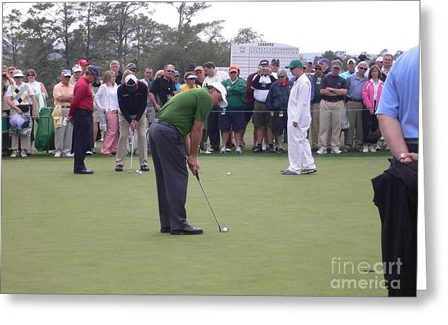 Lefty At The Putting Green Greeting Card by David Bearden