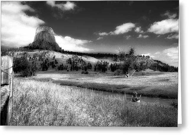 Legend Of The Bear Wyoming Devils Tower Bw Greeting Card by Thomas Woolworth