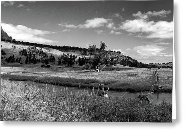 Legend Of The Bear Wyoming Devils Tower Panorama Bw Greeting Card by Thomas Woolworth