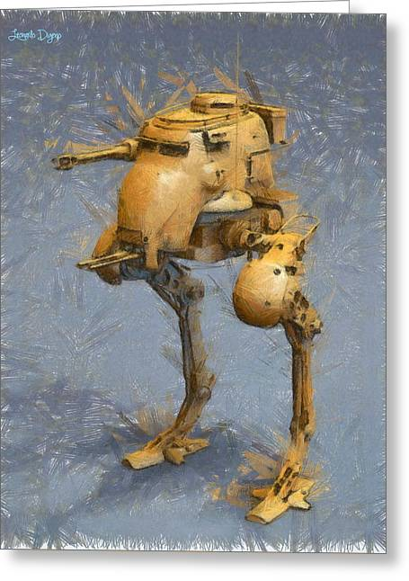 Legged Battlebot - Da Greeting Card by Leonardo Digenio