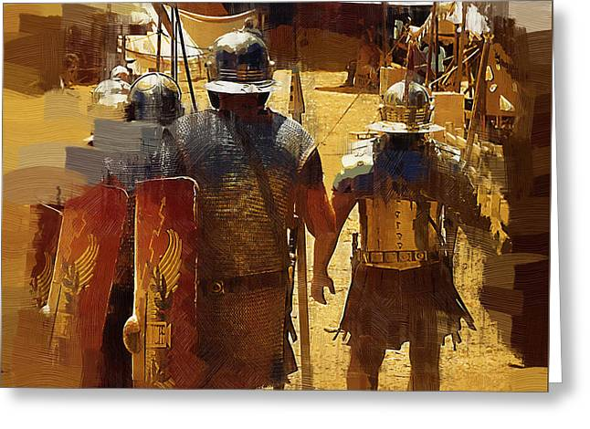 Legionnaires Marching To Camp Greeting Card by Clarence Alford