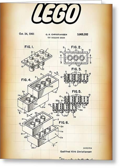 Lego Building Brick Patent 1961 Greeting Card by Daniel Hagerman