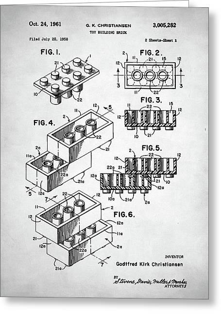 Lego Toy Building Brick Patent Greeting Card by Taylan Apukovska