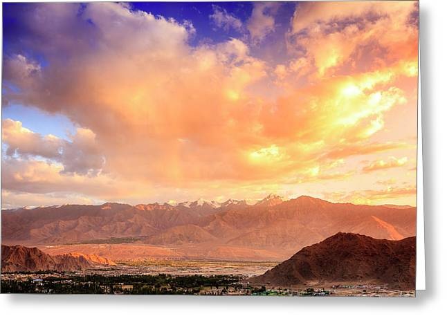 Greeting Card featuring the photograph Leh, Ladakh by Alexey Stiop