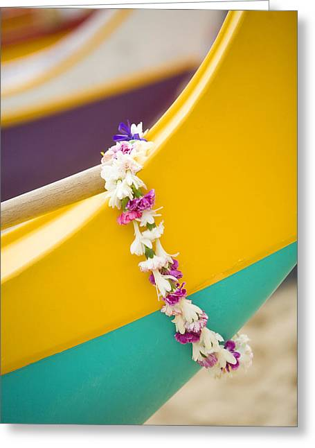 Overhang Photographs Greeting Cards - Lei draped over outrigger Greeting Card by Dana Edmunds - Printscapes