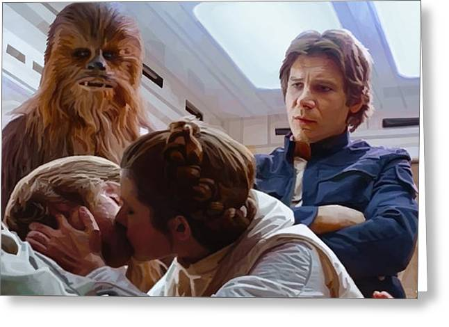 Leia Kisses Luke Greeting Card