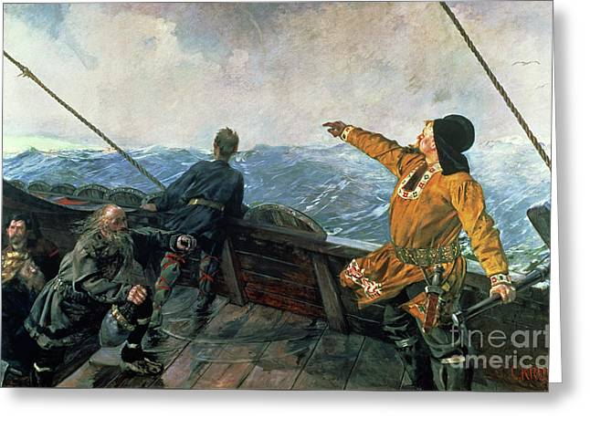 Leif Eriksson Sights Land In America Greeting Card by Christian Krohg