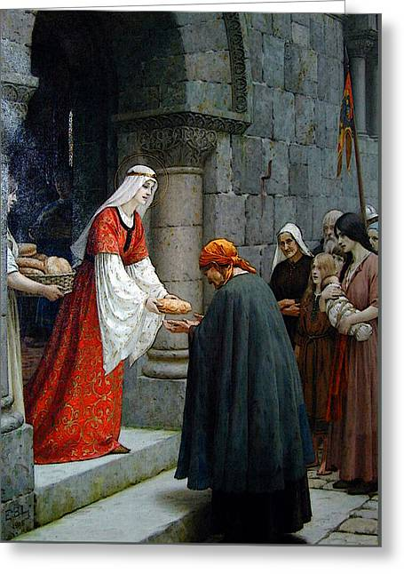 Leighton Edward Blair Charity Of St Elizabeth Of Hungary Greeting Card by Edmund Blair Leighton