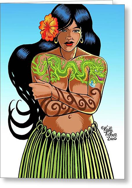 Leilani The Dragon Tattooed Wahine Greeting Card by Keith Tucker