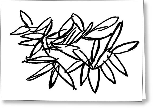 Greeting Card featuring the drawing Leipzig Leaves by Dick Sauer