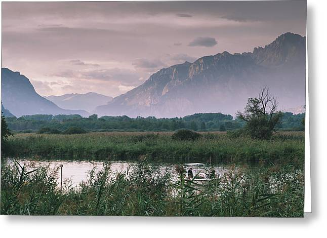 Leisure Boat On River Adda In Northern Italy, Close To Lake Como - Reflection Of Italian Alps Greeting Card