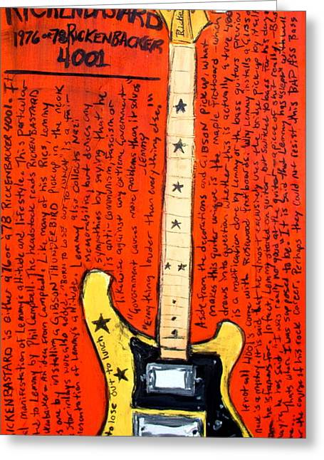 Lemmy's Rickenbacker 4001 Rickenbastard Greeting Card by Karl Haglund