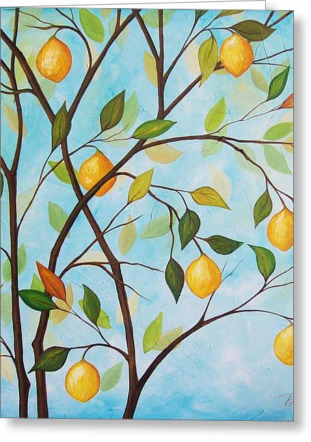 Lemom Tree Greeting Card by Peggy Davis