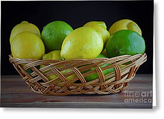 Lemon And Lime Basket Greeting Card