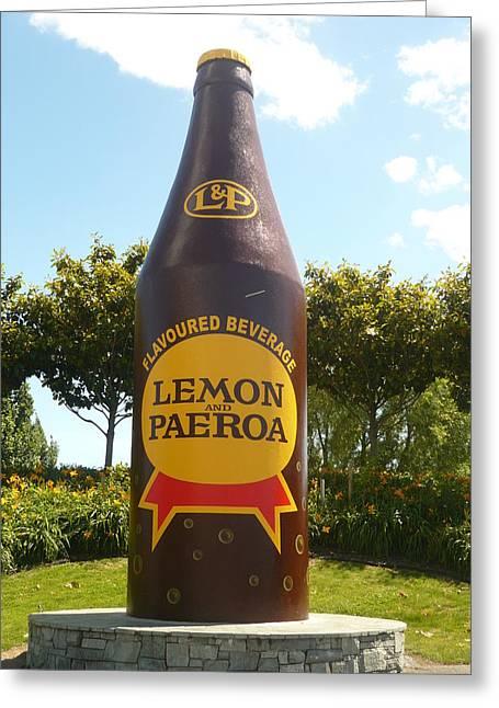 Lemon And Paeroa Greeting Card by Amy Jayne Roper