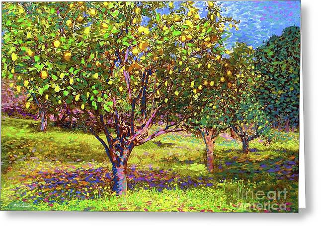 Lemon Grove Of Citrus Fruit Trees Greeting Card