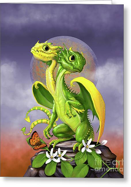 Lemon Lime Dragon Greeting Card by Stanley Morrison